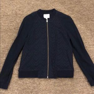 LOFT navy blue zip up
